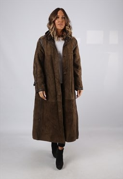 Sheepskin Suede Leather Shearling Coat UK 14  (KJ2W)