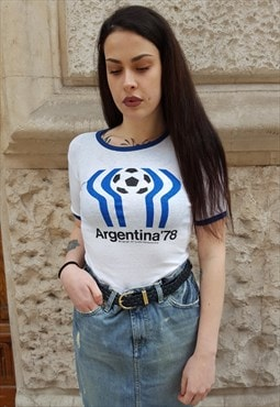 RARE vintage T-shirt football Argentina '70s 3-37