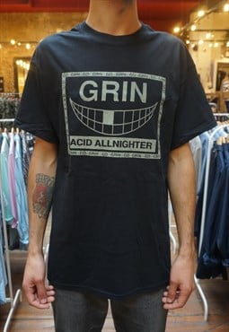 Go Grin glow in the dark 90s rave flyer tshirt in black