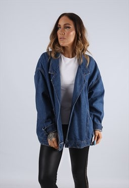 Vintage Denim Jacket Oversized Fitted Bomber UK 20 3XL (J2E)
