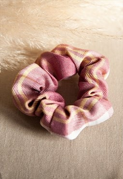 Tartan check hair scrunchie - pink
