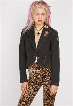 Vintage Moschino Patch Biker Jacket
