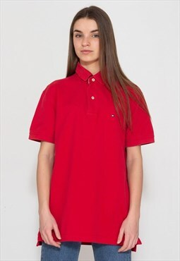 Vintage Red TOMMY HILFIGER Short Sleeve Polo Shirt Top