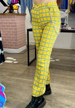 Vintage Inspired Trousers Tartan in Yellow Checked w Chain