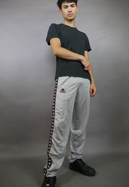 Grey Silver Kappa Taped Trackies Joggers