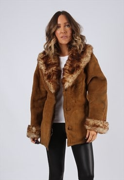 Sheepskin Suede Leather Shearling Coat UK 12 - 14 (EJ3J)