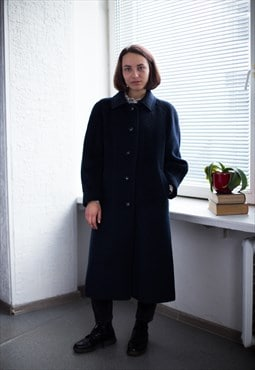 Vintage 80's Navy Wool Coat