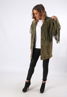Tassel Fringe Jacket Suede Leather Bohemian UK 12 (GEDU)