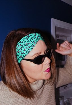 Leopard print headband green white pink one size