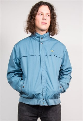 VINTAGE 90'S BLUE HOODED LACOSTE FLEECE LINED BOMBER JACKET