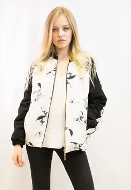 Floral print quilted Bomber puffer Jacket in white color