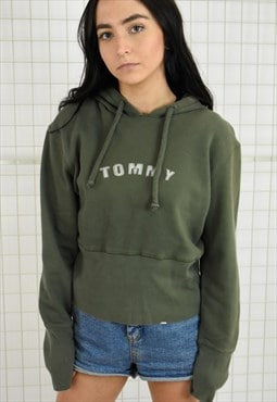 Tommy Jeans Khaki Green Cropped Hoodie