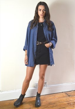 90s Vintage C&A Mid Blue Oversized Flannel Shirt
