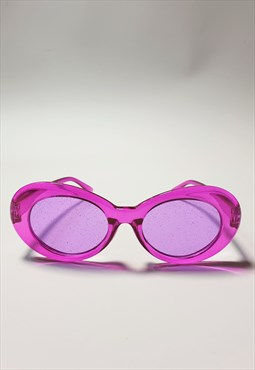 Oval Sunglasses with Glitter Tinted Lenses in Purple