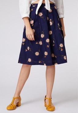 Princess Highway Navy Daisy Print Skirt