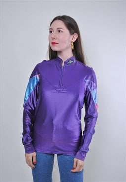 Women vintage zipped up purple athletic tshirt