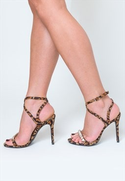 Lila Diamante Detail Strappy Heels in Leopard Print
