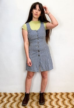 Vintage 90's Gingham Checked Button Up Dress
