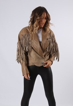 Tassel Fringe Suede Leather Jacket UK 12 (G61K)