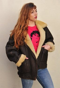 Vintage Brown Leather Shearling Aviator / Flying Jacket