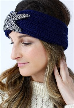 Navy Blue Silver Beaded Ribbed Knitted Turban Headband