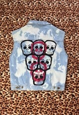 Reworked Acid Wash Hand Painted Skull Vintage Denim Jacket