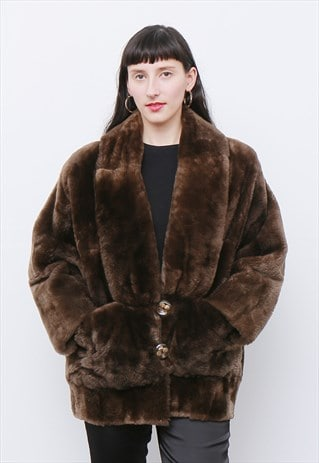 VINTAGE 1980'S BROWN SHEARLING WINTER COAT