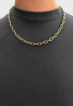 "16"" Oval Steel Curb Necklace Chain - Gold"
