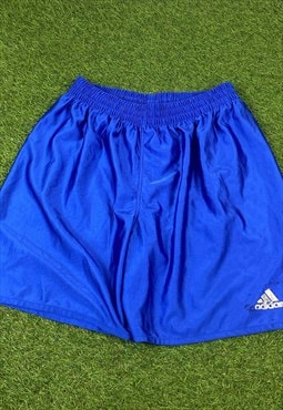 Vintage Adidas Shiny Shorts in Blue with Logo, Drawstring