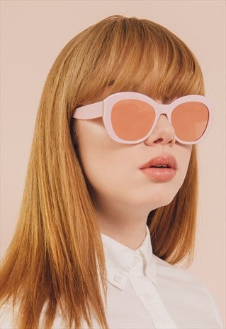 GIA PINK MIRROR LENS RETRO FASHION SUNGLASSES