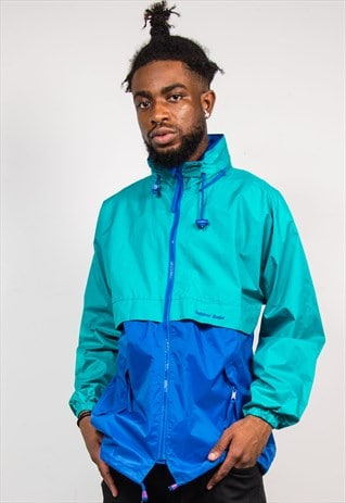 90'S VINTAGE COLOUR BLOCK GREEN BLUE CAGOULE JACKET