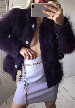 Vintage 90s Plum Purple Fluffy Real Wool Blazer Cardigan
