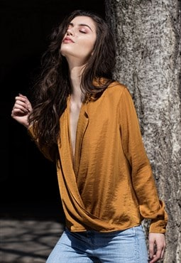 Marigold satin shirt with plunging neckline