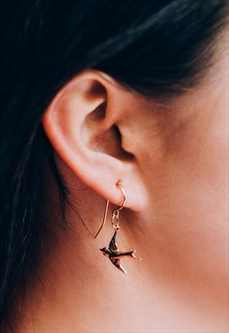 Gold filled vintage swallow bird charm earrings