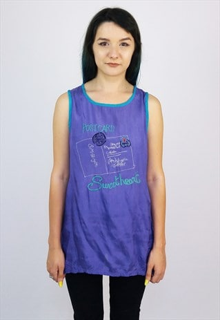 VINTAGE 80'S EMBROIDERY EASY VISCOSE TANK TOP / VEST
