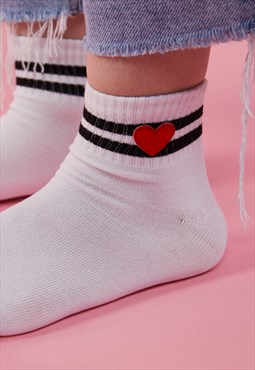 Heart Embroidered Patch Striped Skater Tube Socks in WHITE
