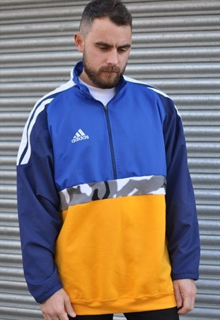 00'S Y2K ADIDAS REWORK 1/4 ZIP WINDBREAKER SPORTS SWEATSHIRT