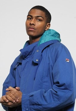 Vintage Fila Quilted Jacket Blue
