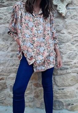 Vintage Oversized Pastel Floral Cotton Shirt