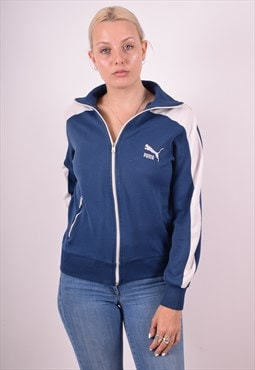 Puma Womens Vintage Tracksuit Top Jacket Medium Blue 90s
