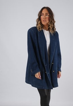 Denim Jacket Long Blazer Oversized Fitted UK 22 (HWBZ)