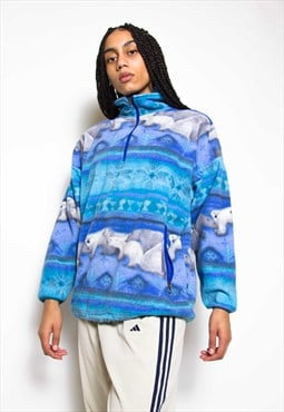 Vintage 90s Polar Bears Fleece Jumper ID:3506
