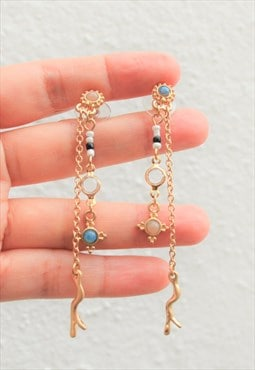 Delicate double chain stud earrings