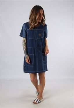 Vintage Denim Dress BICH REWORKED Dungarees UK 10 - 12 (DDH)