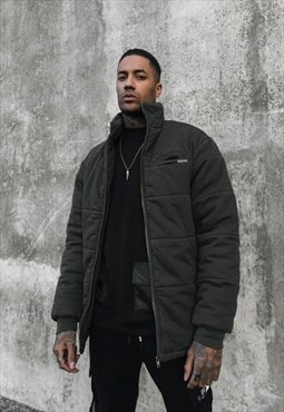 No boundaries denim puffa jacket in KHAKI
