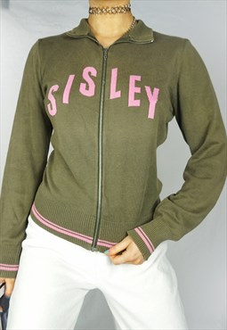 Adorable 90s y2k 00s Sisley Zip Up Sweater Top Jacket