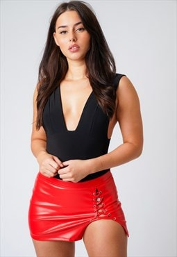 Red Leather Shoe Tie High Waist Mini Skirt