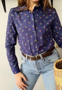 Vintage 60s Floral print Boho Parisian chic shirt top blouse