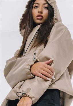 Oversized Windbreaker Hoodie in mocca beige