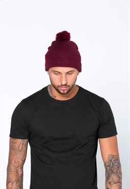 Essential Bobble Pom Pom Beanie Hat - Maroon Burgundy Red